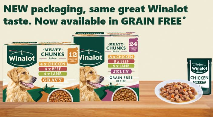 Grain free Winalot dog food pack